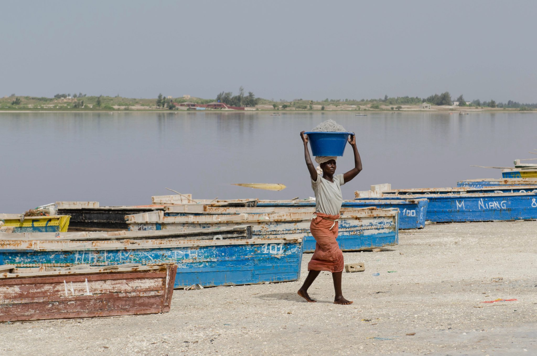 Day trips from Dakar: Lac Rose is not only famous for its colour, but also for its huge amount of salt