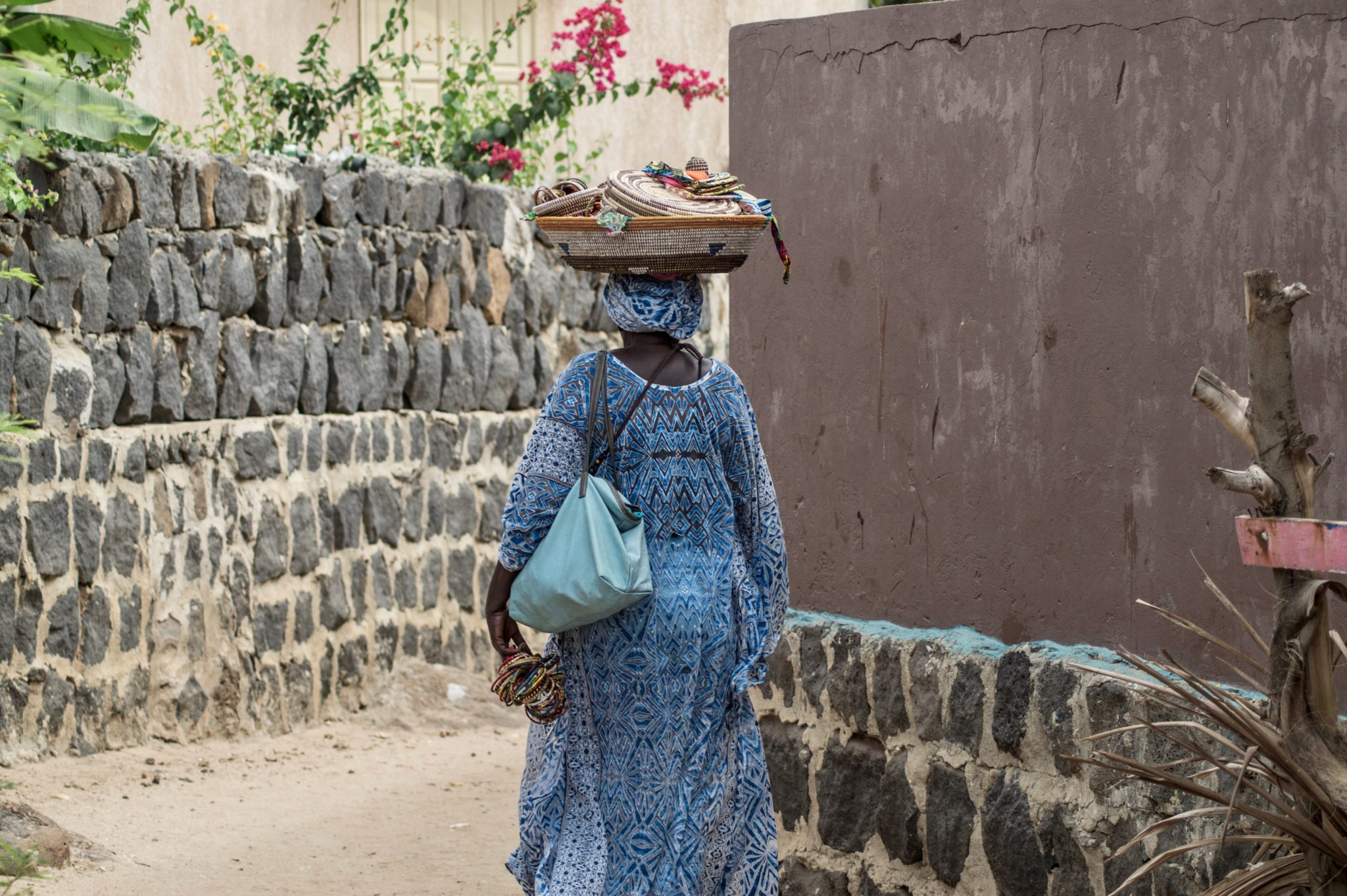 Senegal Surf: This lady sells handmade baskets on Ngor Island