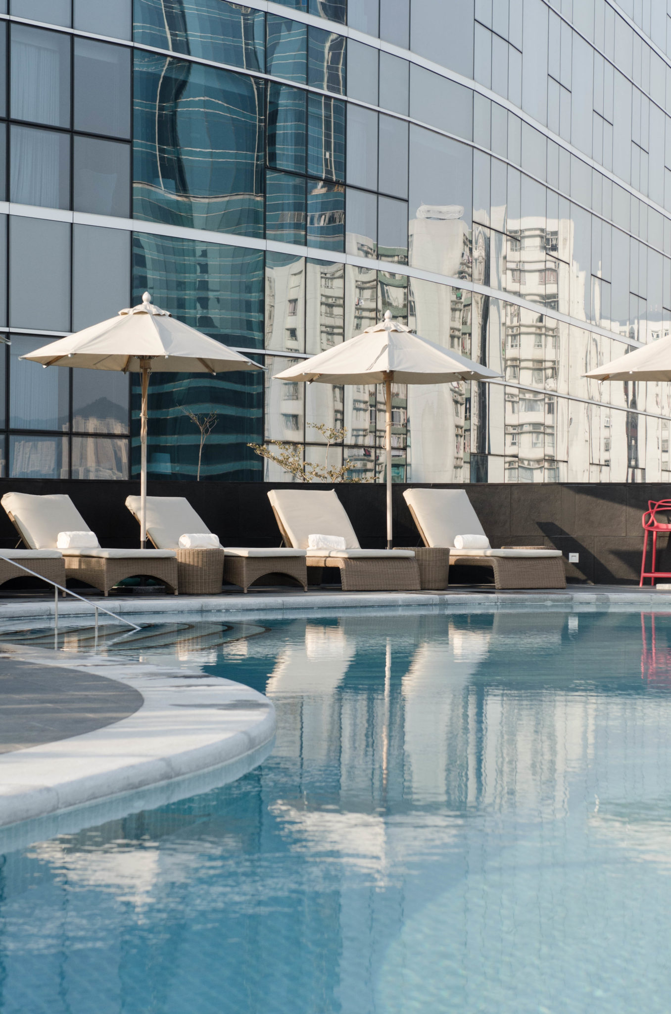 The pool at the Kerry Hotel Hong Kong in Hung Hom is amazingly located.